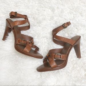 Banana republic tan leather strapped heels 8.5